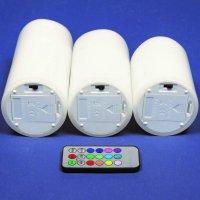 LED-Echtwachskerzen 3er-Set 10/12,5/15x7,5cm RGB inkl....