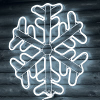 LED Neon Schneeflocke 60cm weiß