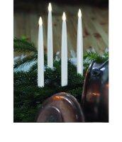 LED-Spitzkerzen 4-er Set 28cmx2,3cm flackernd weiß...
