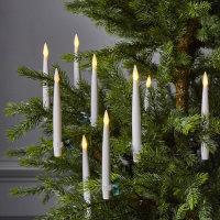 LED-Spitzkerzen 10er Set 15cmx1,5cm flackernd weiß...