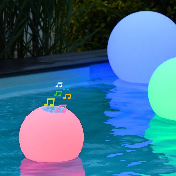 Akku Soundkugel 9W Weiß+RGB inkl. Ladegerät und Fernbedienung schwimmfähig IP66