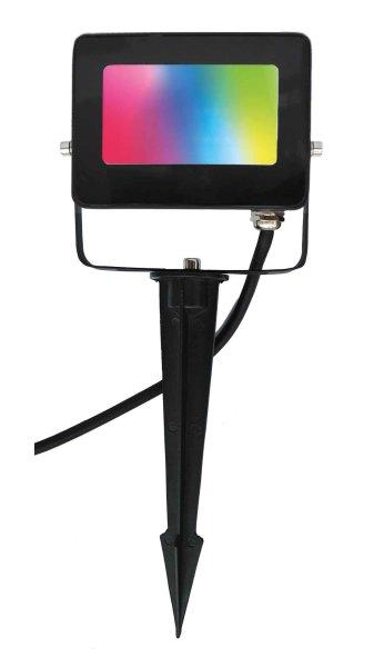 LED Color Erdspieß-Strahler 10W 830+RGB schwarz inkl. 3m Kabel + Fernbedienung